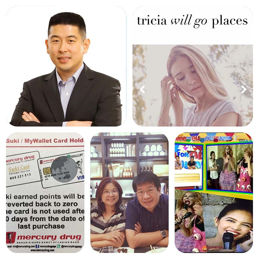 Clockwise: Edgar Sia, Tricia Gosingtian, Eat Bulaga, Chiqui Escareal-Go, Mercury Drug's Suki Card