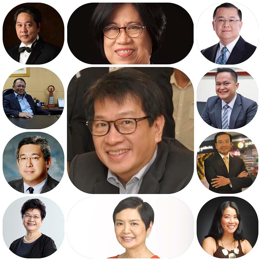 Clockwise: Ronald Mascarinas, Teresita Herbosa, Edwin Bautista, Chay Cruel, Richard Yee, Joy Santos, Robina Gokongwei-Pe, Flor Tarriela, James Matti, Nic Lim