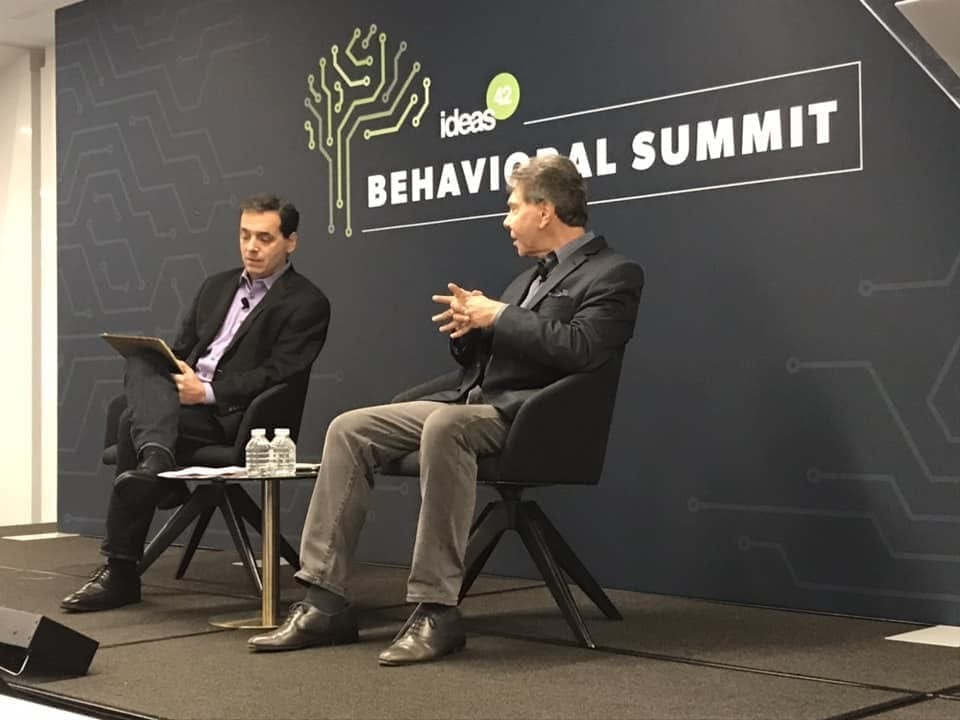 Author Robert Cialdini (right) being interviewed by Daniel Pink (left) during the Ideas42 Behavioral Summit